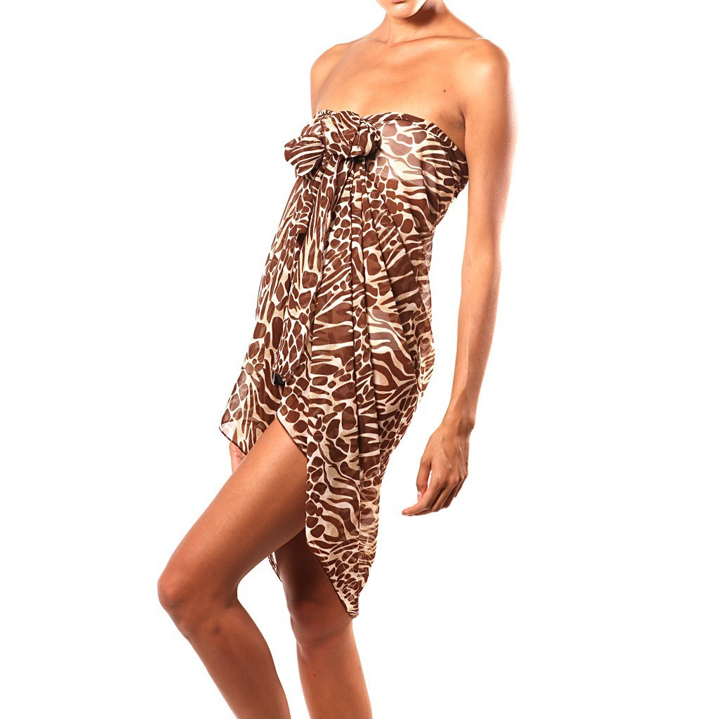Brown and White Tiger Print Silk Sarong by Beach Glam - Pop Up Fashion Sale