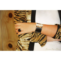 Crystal On Leather Gold Bracelet - Women - Jewelry - Cuffs