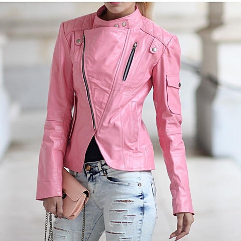 """Pink Me"" High Quality Leather Jacket"