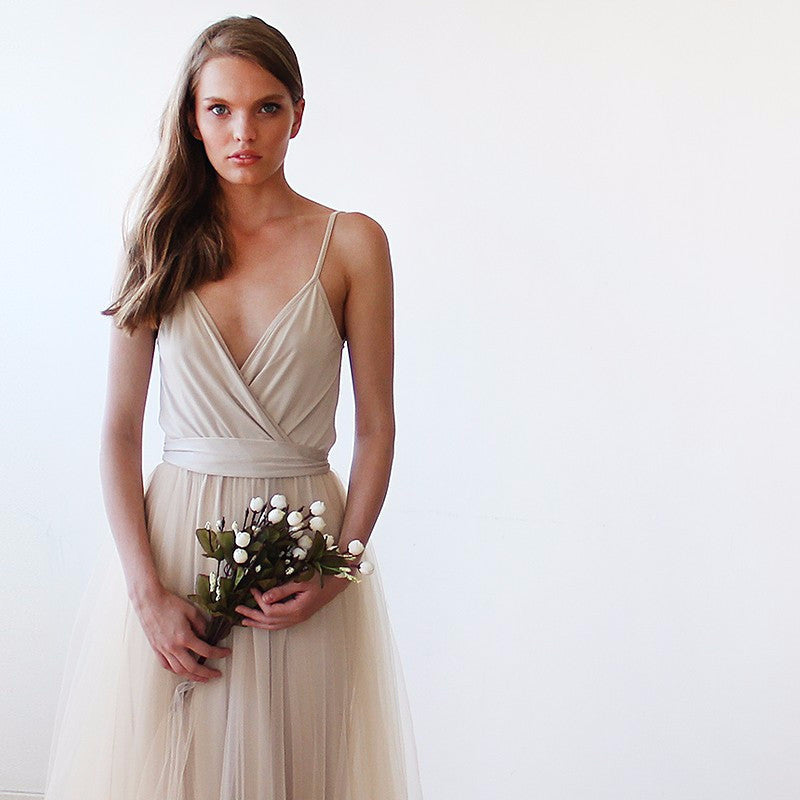Champagne Wrap Tulle Wedding / Bridesmaid Dress