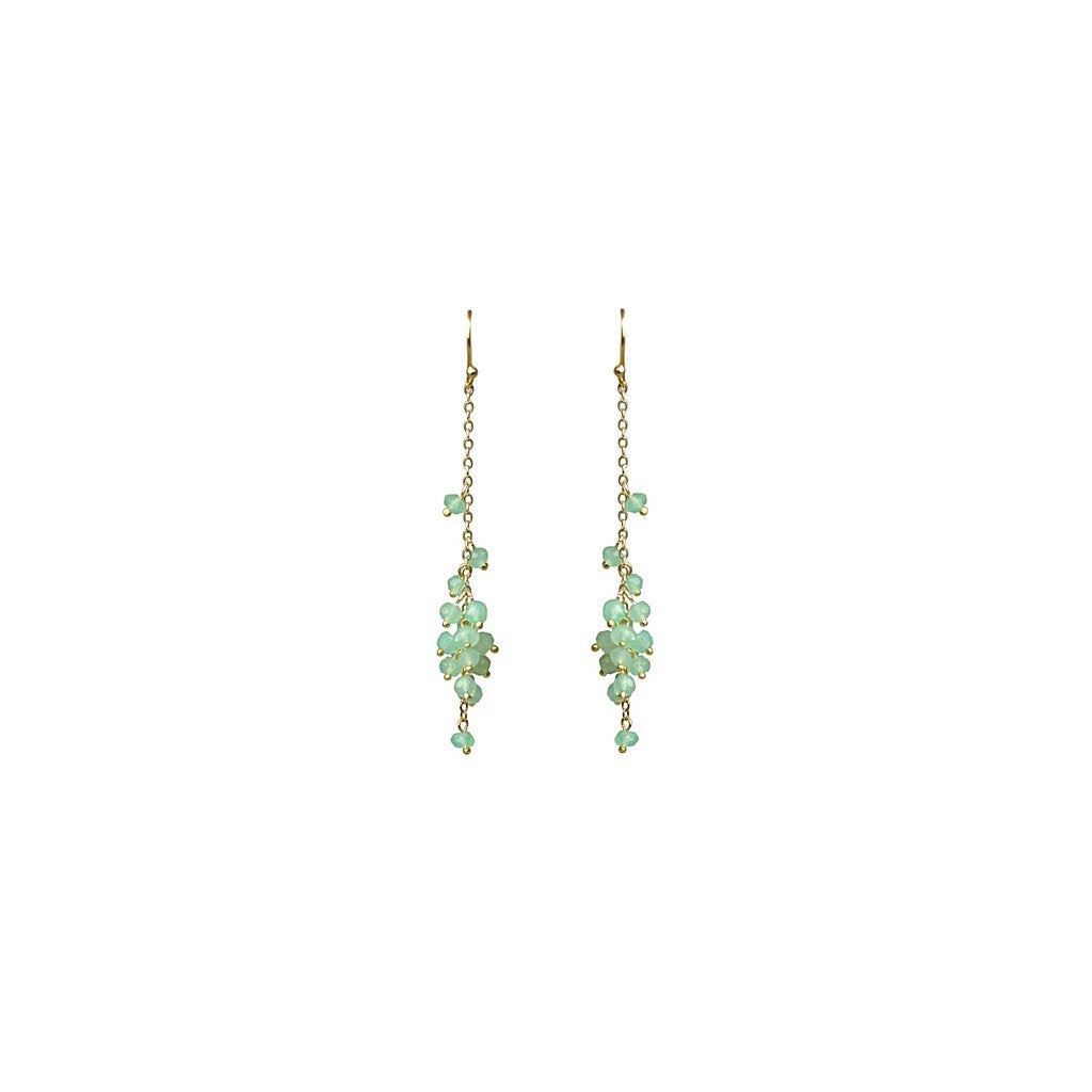 Chrysoprase Cascading Cluster Earrings - Pop Up Fashion Sale