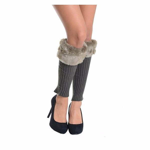 Gray Ribbed Knit Faux Fur Top Leg Warmers by Le Chic, LLC - Pop Up Fashion Sale