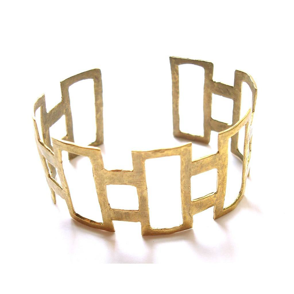 Hammered Rectangle Cuff by Alicia Marilyn Designs - Pop Up Fashion Sale