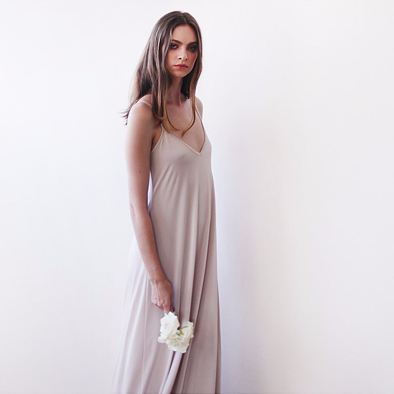 Champagne maxi straps basic dress - Pop Up Fashion Sale