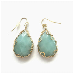 Amazonite and Gold Fashion Earrings - Pop Up Fashion Sale