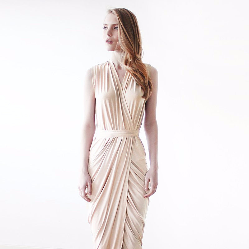 Champagne sleeveless tulip wrap maxi dress - Pop Up Fashion Sale