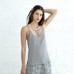Knitted Tank Top, Silver BY Naftul - Pop Up Fashion Sale