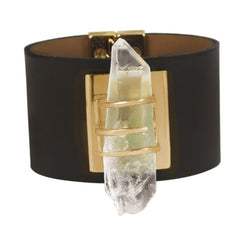 Crystal on Leather Gold Bracelet - Pop Up Fashion Sale - 2