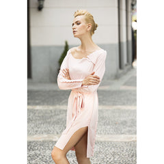 Cream marshmallow faux suede dress in Rose Petal Pink - Pop Up Fashion Sale - 4