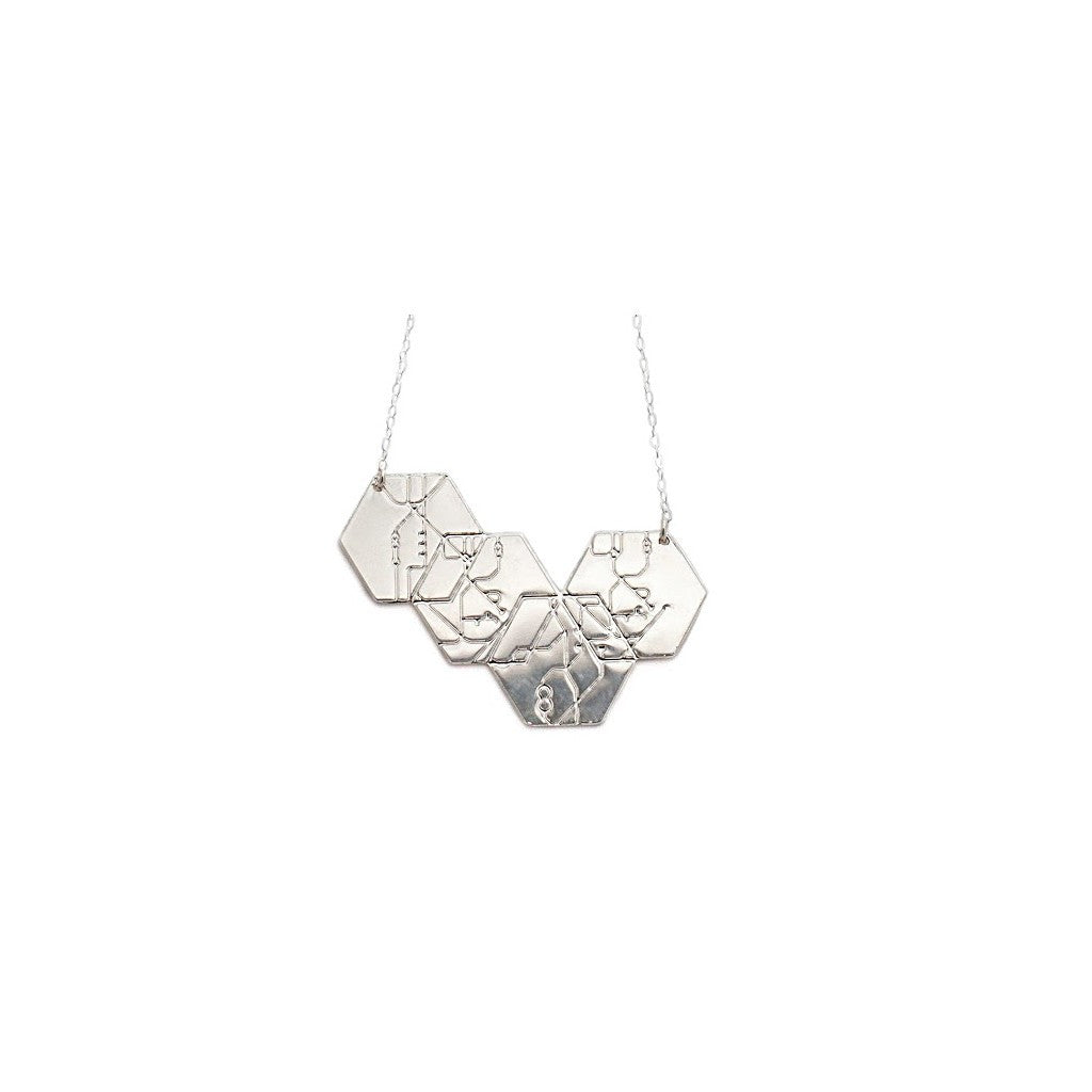 4 hexagon necklace - silver - Pop Up Fashion Sale