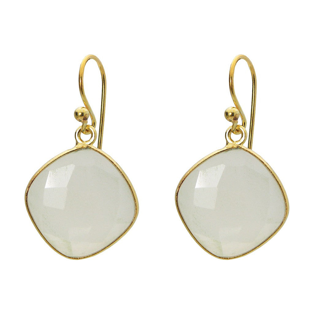 "18k Gold Plated Sterling Silver Small Square MoonStone Earrings, 1.19"" - Pop Up Fashion Sale"