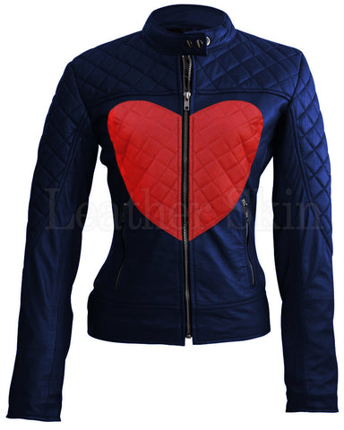 Blue Red Heart Leather Jacket