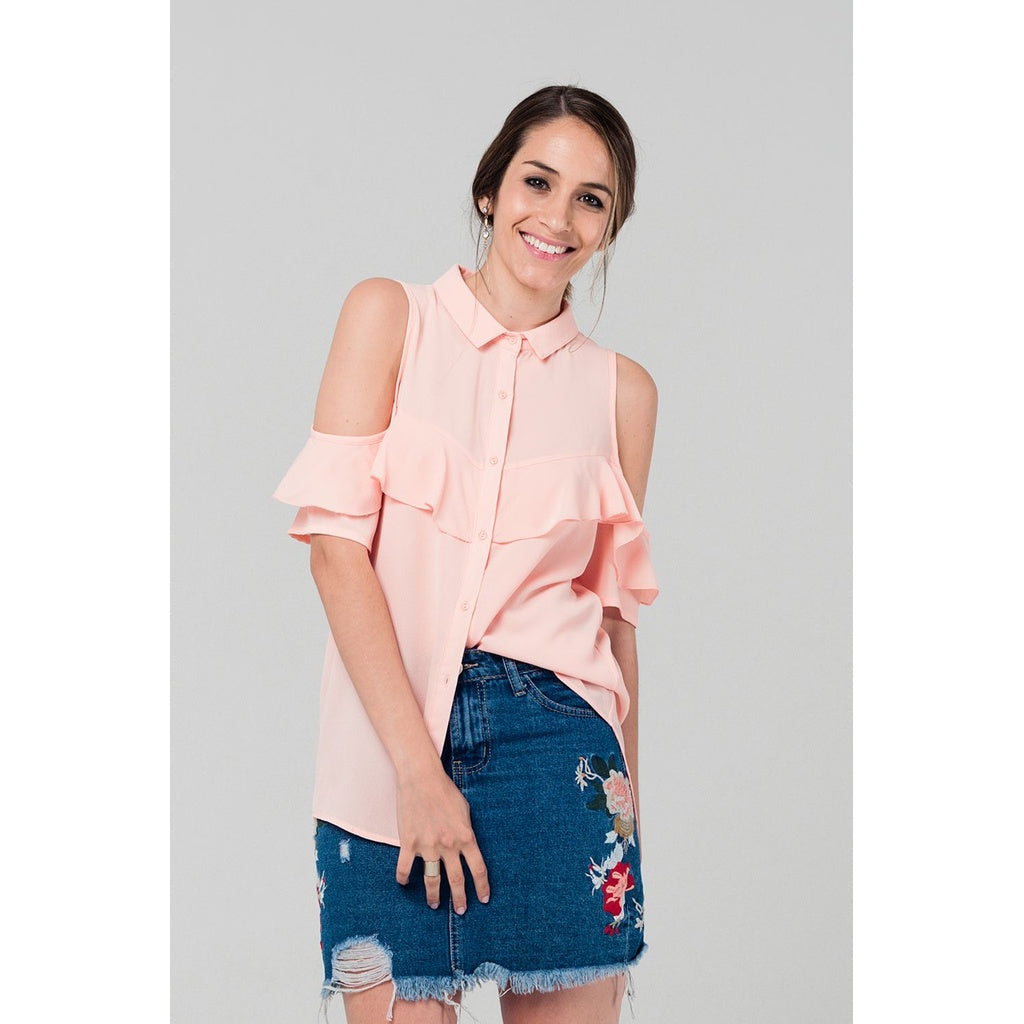 Cold shoulder ruffled shirt in pink - Pop Up Fashion Sale