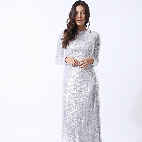 Amal Silver Glitter Sequin Maxi Dress