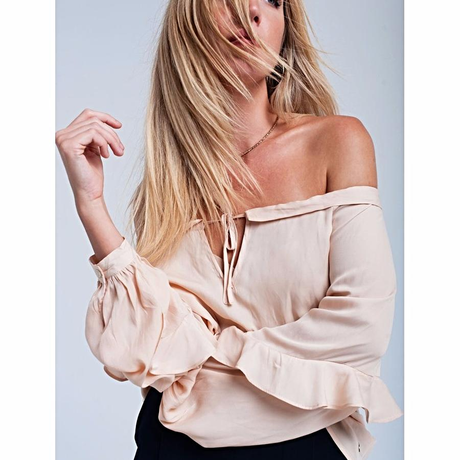 Beige Flowing Off Shoulder Blouse - Women - Apparel - Shirts - Blouses