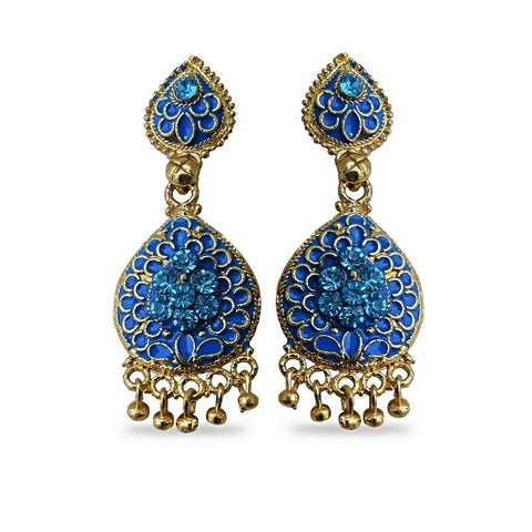 Zircon Golden Dangler Earrings (Color - Turquoise)