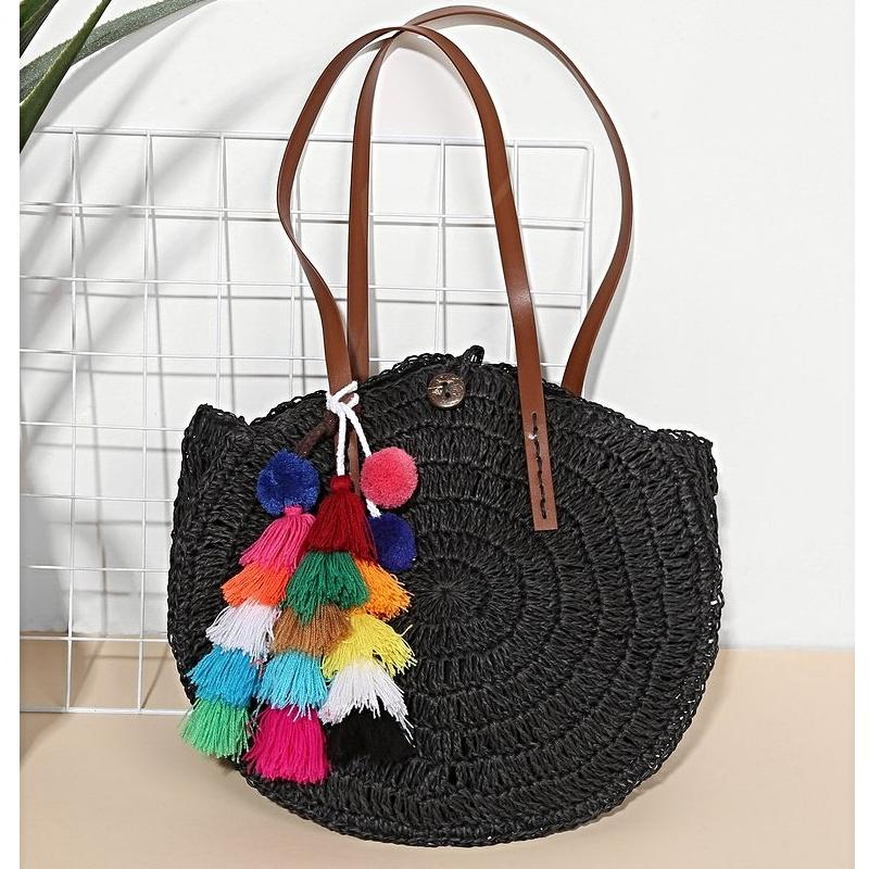 Tassel & Pom Pom Decorated Tote Bag - Bags