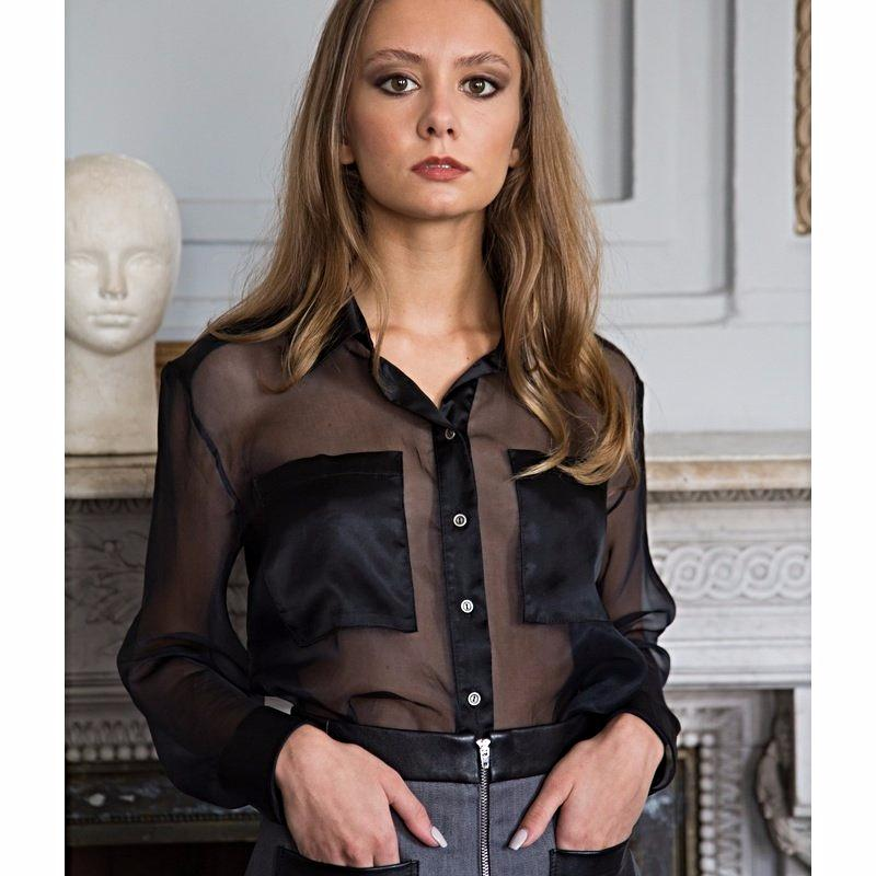 Black silk - organza long sleeved shirt
