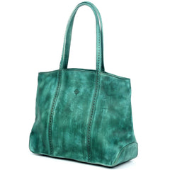 Dancing Bamboo Leather Tote - Aqua - Women - Bags - Totes