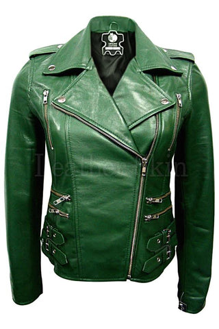 Green Brando Leather Jacket