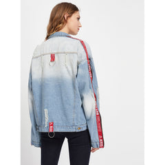 Detail Zipper Ripped Denim Jacket - Women - Apparel - Denim - Jackets
