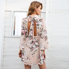 Backless Flare Sleeve Lace Floral Short Dress