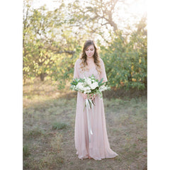 Blush Pink Sheer Chiffon Bat-wing Maxi Dress