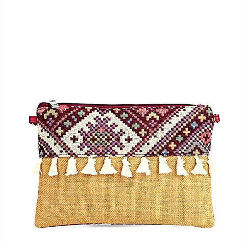 Contrast Tassel Embroidery Clutch With Chain