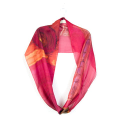 Ethereal Mixed Silk Infinity Scarf: pinkberry