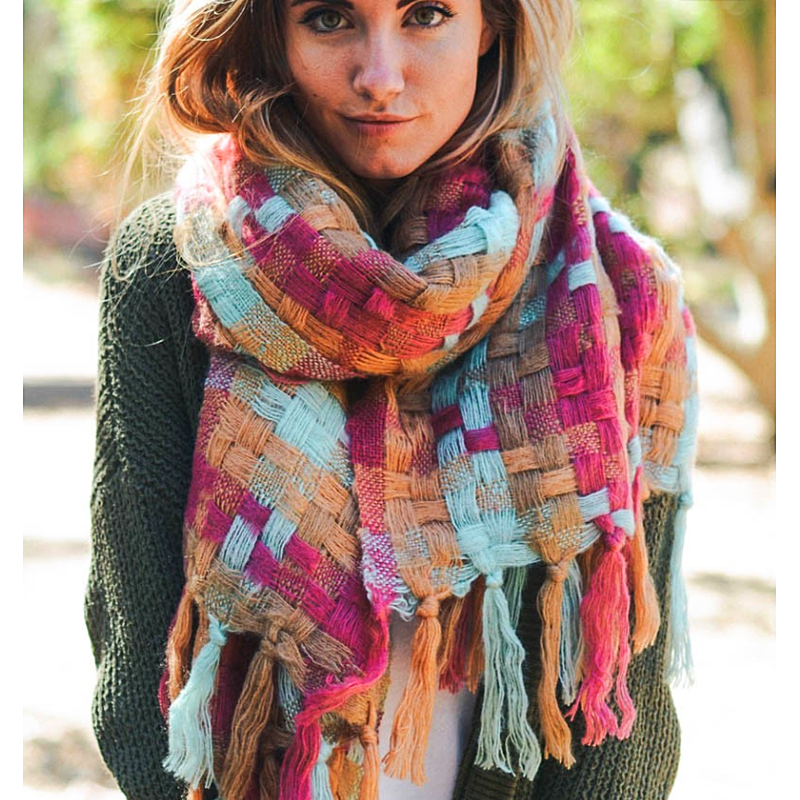 Beautiful Warm Patchwork Long Tassel Scarf