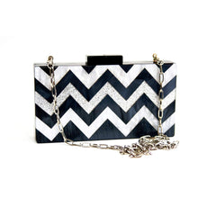 Black Chevron Acrylic Personalized Box Clutch
