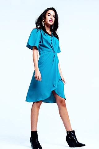 Turquoise wrapped mini dress