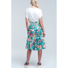 Floral Asymmetrical Green Skirt - Women - Apparel - Skirts - Mini