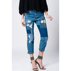Denim Blue Jean With Floral Patches - Women - Apparel - Denim - Jeans