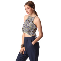 Blue printed crop top with lace up side detail