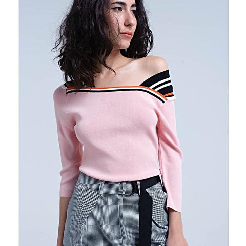 Pink lightweight jersey with contrast stripes