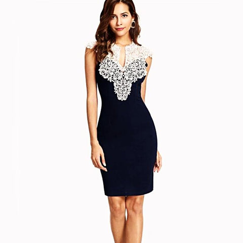 Navy Floral Lace Yoke Dress
