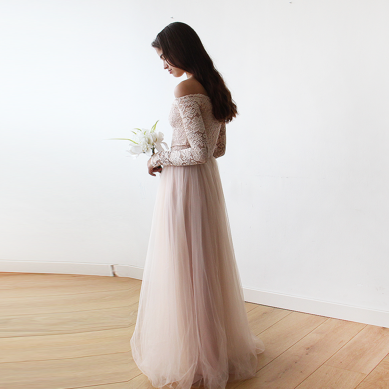 Blush Off-The-Shoulder Lace And Tulle Gown - Blush / L-Xl - Women - Apparel - Bridal