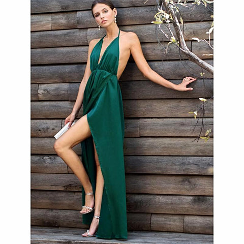 High Slit Satin Maxi Party Dress