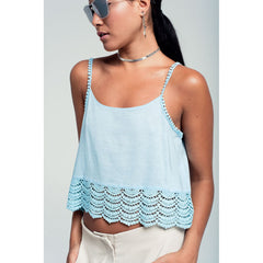Crop Top With Crochet Detail - Women - Apparel - Shirts - Blouses