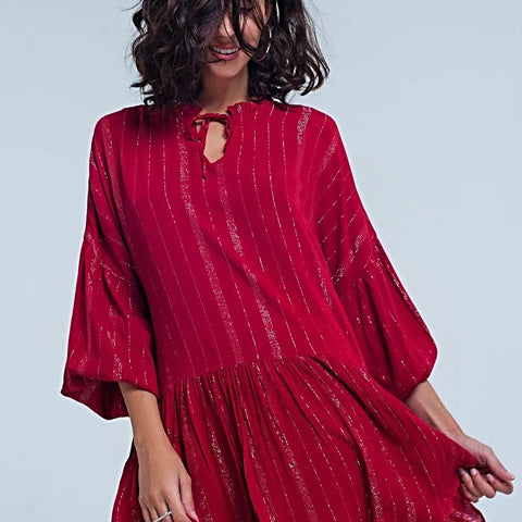 Bordeaux Dress In Lurex Metallic Stripe