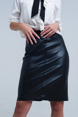 Black midi straight faux leather skirt - Pop Up Fashion Sale