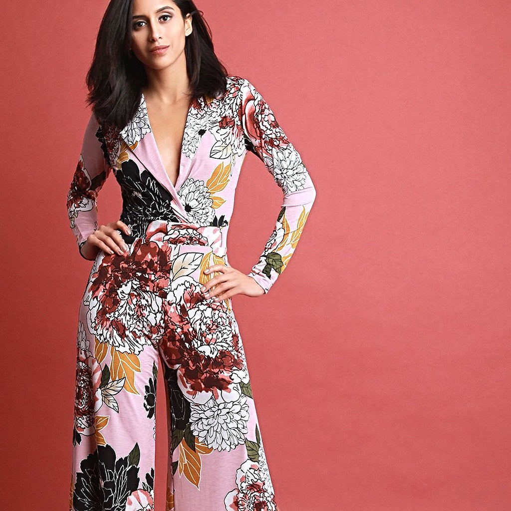 Peony Side Slit Jumpsuit - Clothes Rompers & Jumpers