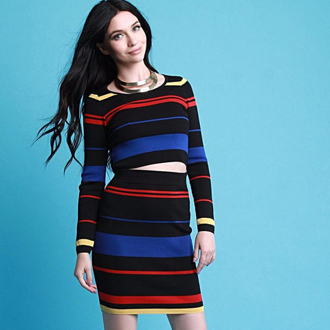 Multi-Color Stripe Long Sleeve Crop Top and Skirt Set