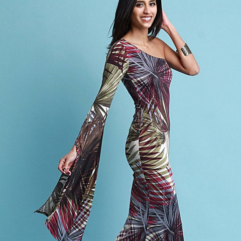 Tropical Single Bell Sleeve Maxi Dress