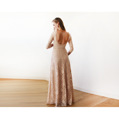Blush Pink Floral Lace Maxi With Open Back 1118