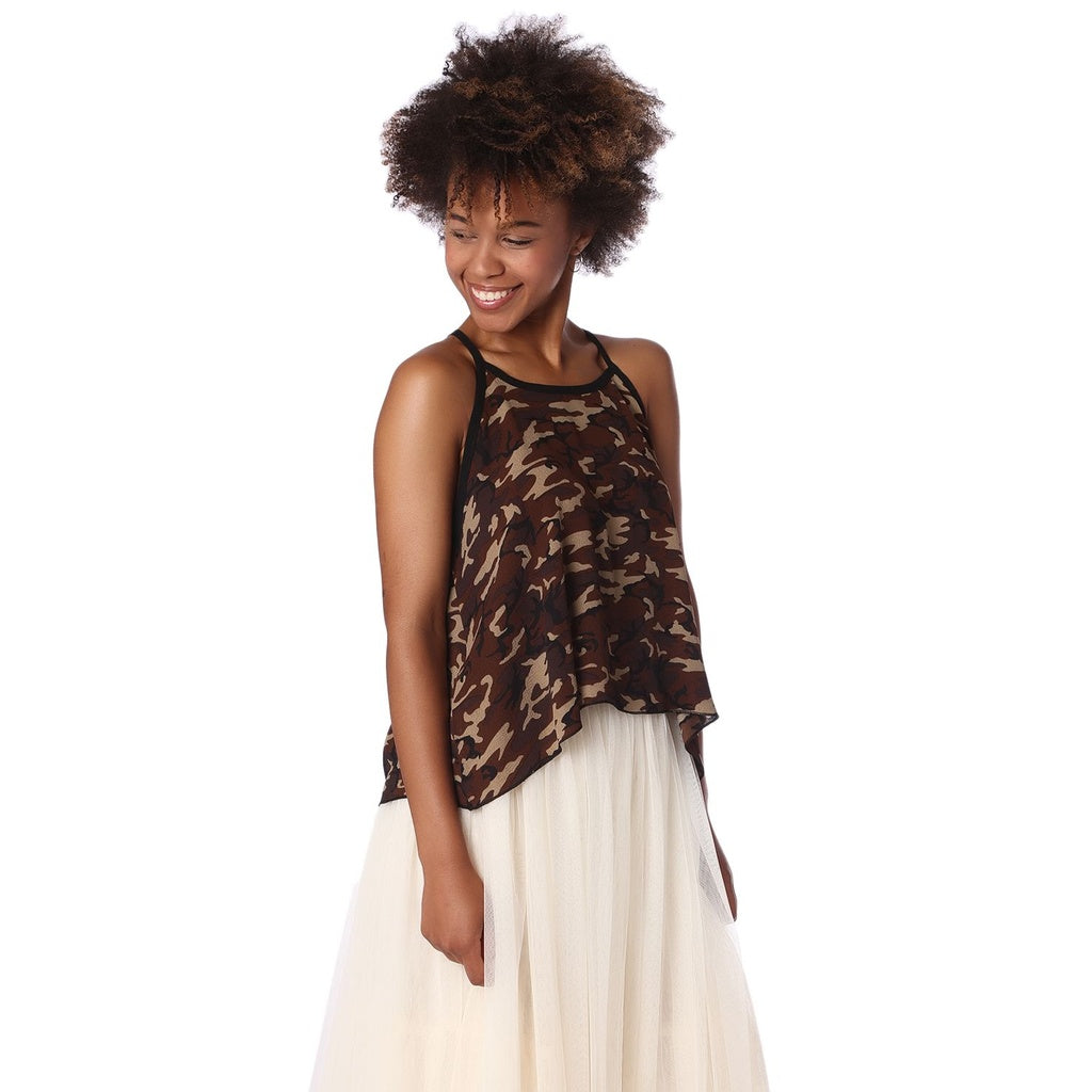 Brown camo print dip hem top - Pop Up Fashion Sale