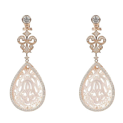 Rosegold Teardrop Earring White Mother of Pearl