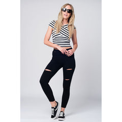 Crossed Sleeves Black Striped Crop Top - Women - Apparel - Shirts - Blouses