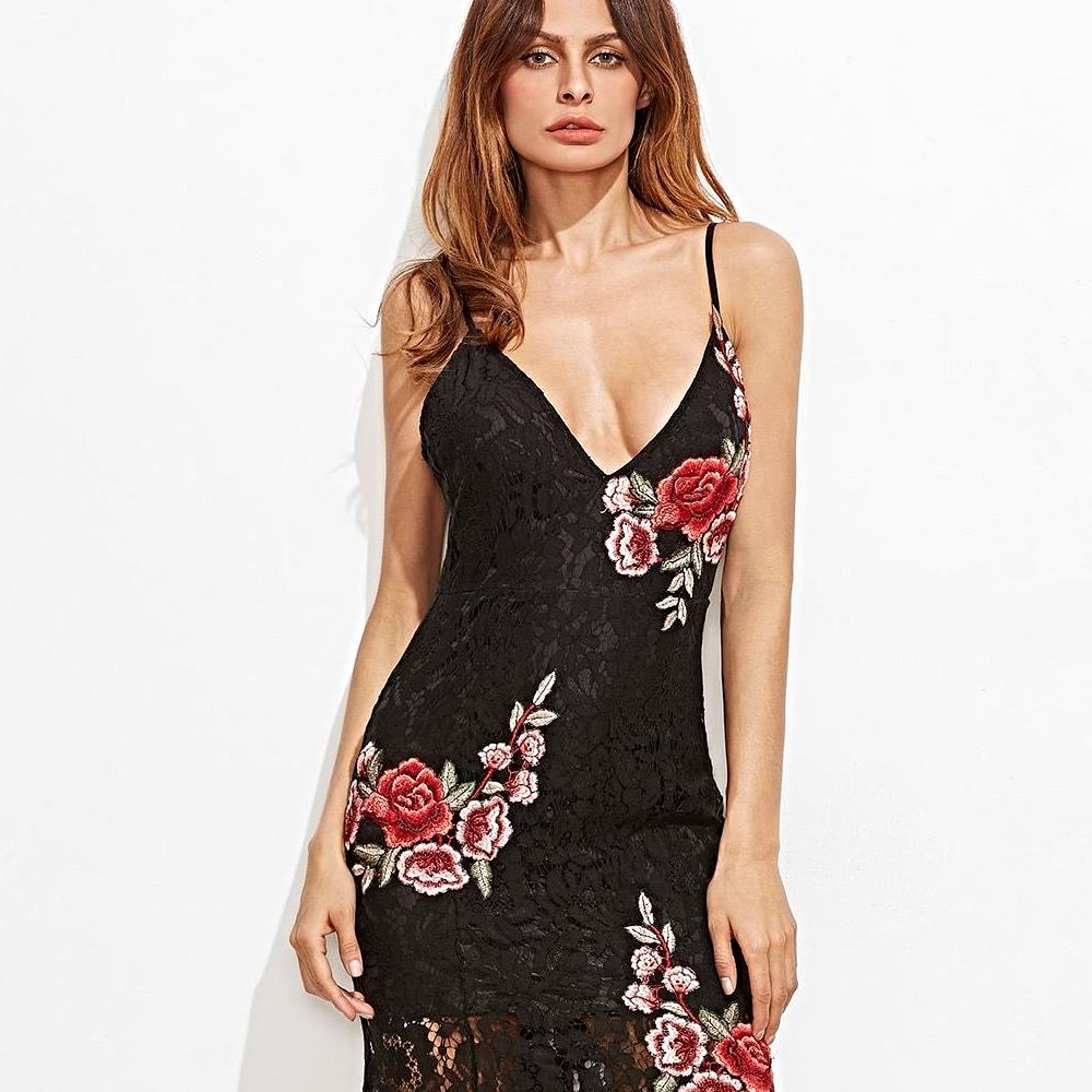 Embroidered Rose Applique Lace Overlay Fishtail Cami Dress